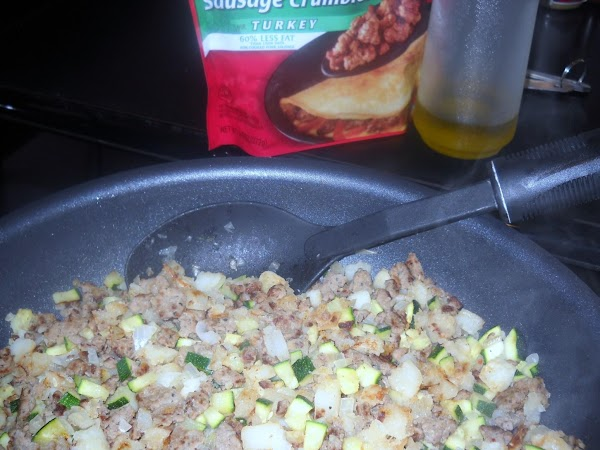 In non-stick skillet, heat oil and then cook the sausage and potatoes about 5...