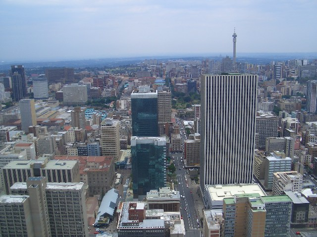 Aerial view of Johannesburg City centre.