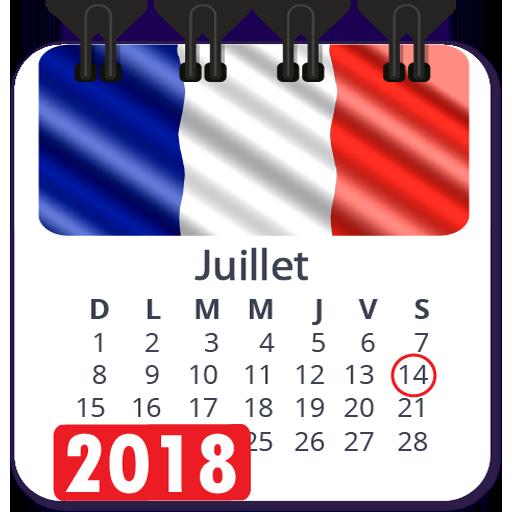 Calendrier 2018 en francais avec jours fériés Icon