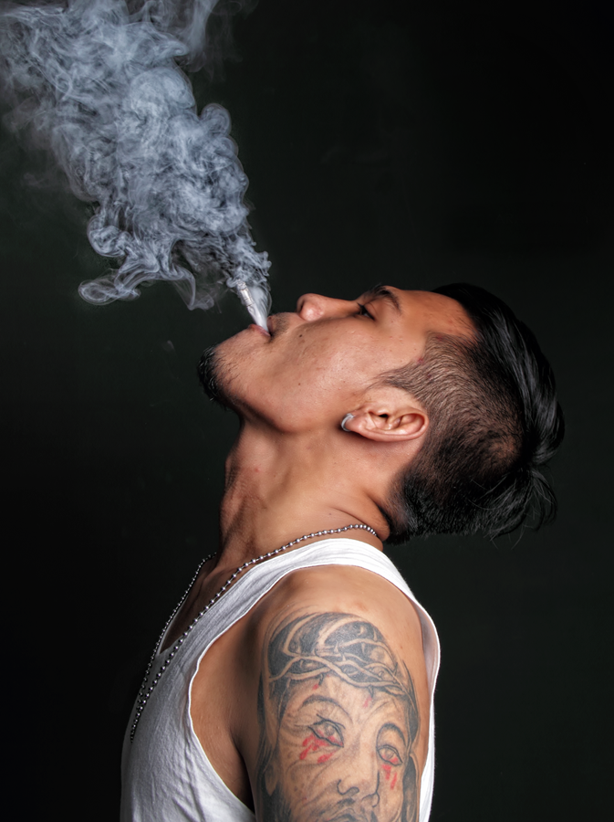 white smoke rock  by Sesar Arief - People Portraits of Men ( smoke cigar rock black people )