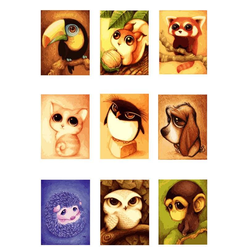 復古系列動物數字油畫套裝