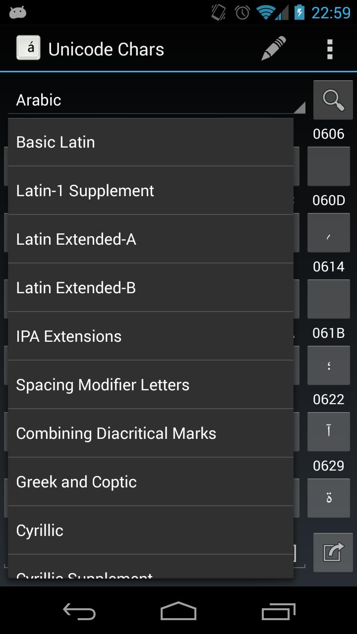 Скриншот Unicode Chars