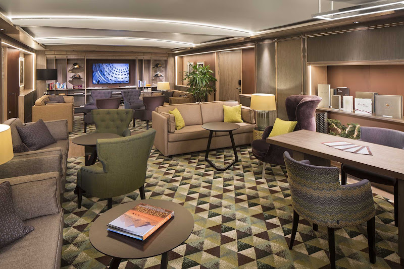 Kick back during your vacation in the Neptune Lounge of Holland America's ms Koningsdam.