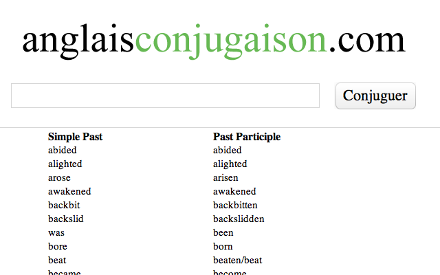 Hervorragend Verbes irréguliers anglais - Chrome Web Store CH53