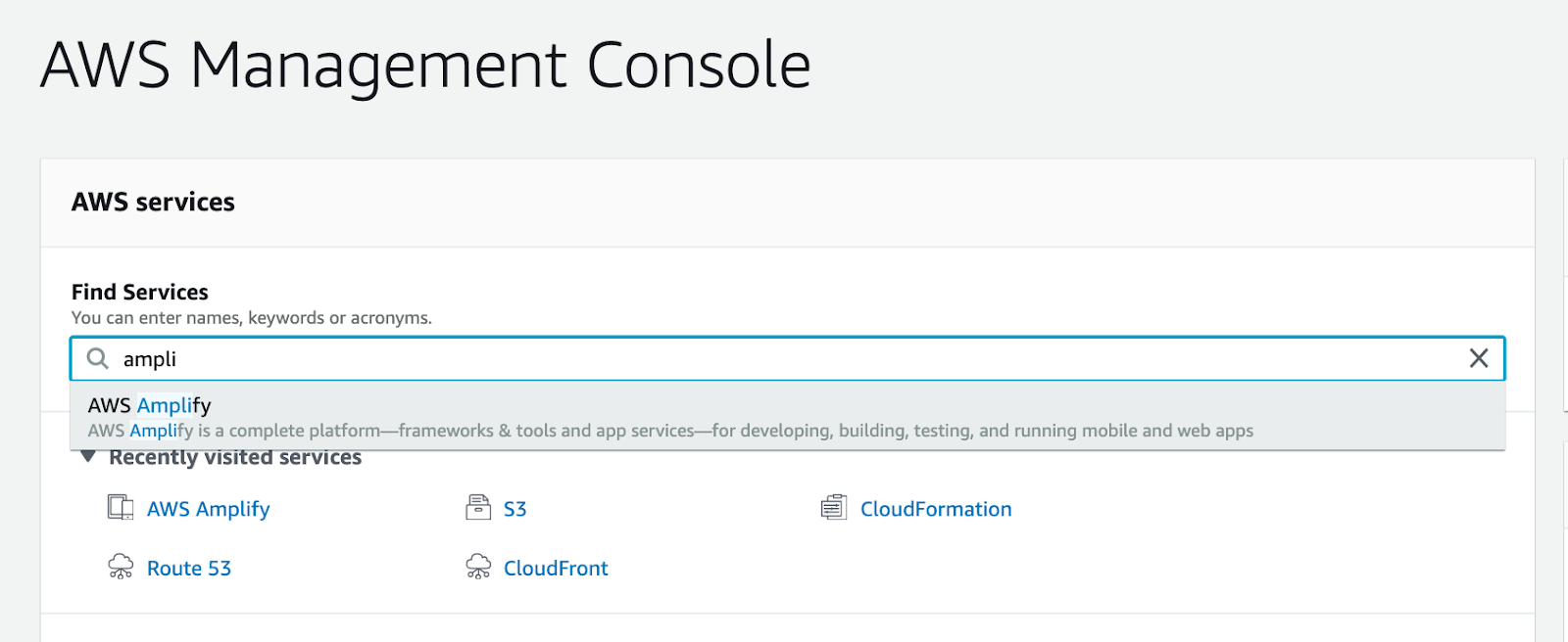 Finding the AWS Amplify service in the AWS Console