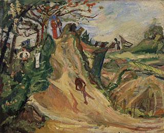Хаим Сутин. Пейзаж с человеческой фигурой.