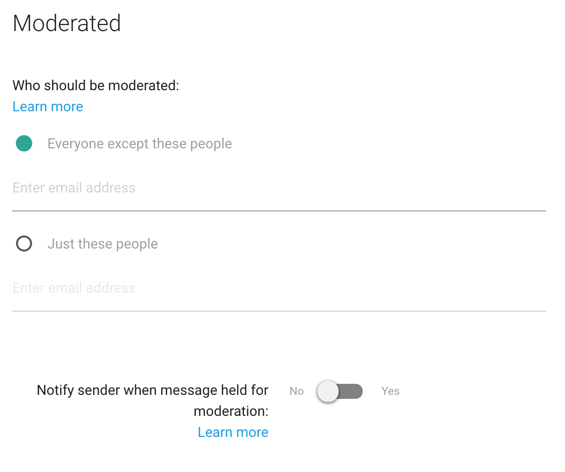 Selecting who gets their messages moderated.