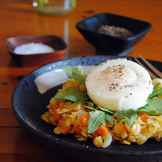 Soaked Lentils with Poached Eggs