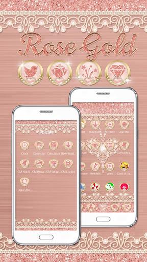 Rose Gold Launcher Diamond Heart Theme 1.1.1 screenshots 4