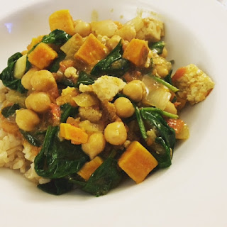 Tofu Chickpea and Spinach Curry