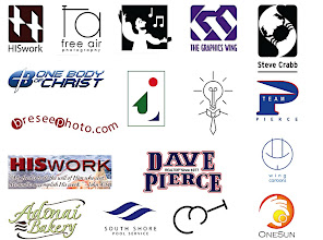 """Photo: A variety of logos for products, as well as clients, from 2005 - present. (With the exception of """"The Graphics Wing"""" logo, which I designed for my original freelance business in 1987). HISwork is my freelance/ministry; FreeAirPhotography is my daughter, Erika's business; Choir logo; Steve Crabb is a good friend from the choir, so I did this quickie logo for him; One Body of Christ was a (relatively) short-lived ministry, """"j"""" is me; """"The Idea Man"""" logo for a consultant who helps small businessmen; Team Pierce and Dave Pierce, a local Realtor; """"Wing Cartoons,"""" is another logo I use for that service;""""Adonai Bakery,"""" in Oklahoma; """"South Shore Pool Service;"""" """"MT"""" is a logo for a guitarist in Memphis, Tennesee; """"One Sun"""" is a local grocery delivery service."""