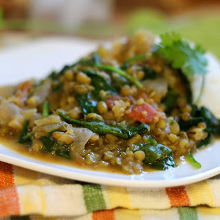 Green Curry Mung Beans with Spinach.