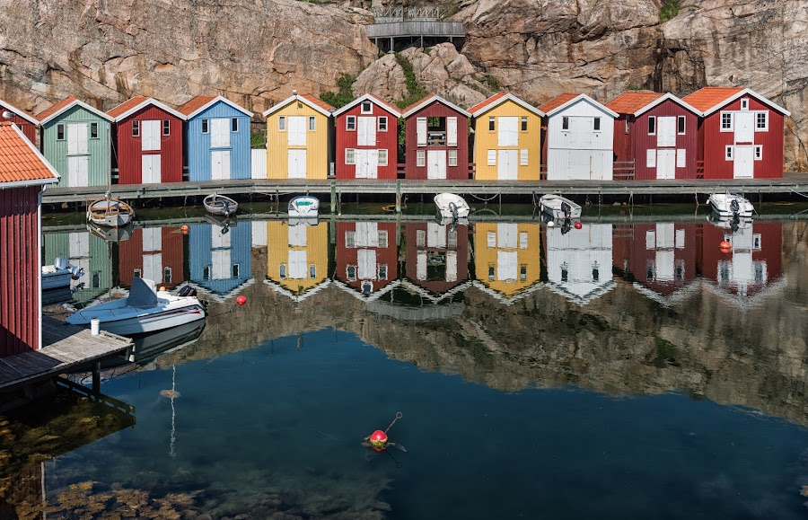 Quiet little harbor by Mats Andersson - Buildings & Architecture Other Exteriors ( sweden, harbor, mooring buoy, smögen, evening sun, boats, quiet, dock of the bay, windless, small boats, summer, mooring, fishing huts )