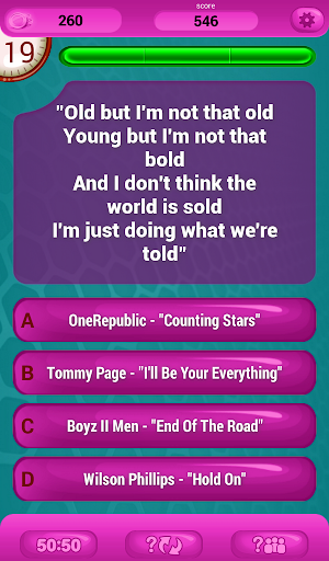 Guess The Lyrics POP Quiz Screenshot
