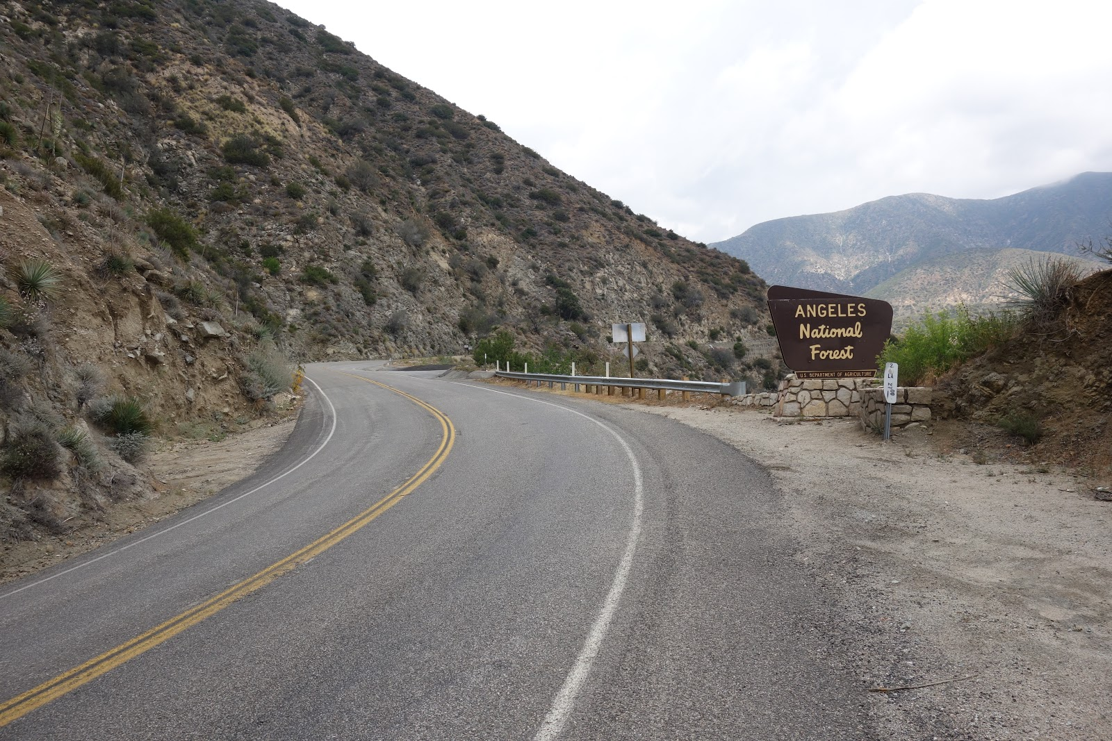 Angeles National Forest road sign on Hwy 2 during bicycle ride to Mt. Wilson
