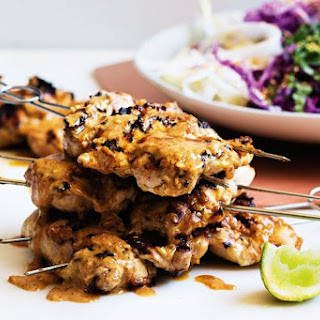 Almond Butter Chicken Satay With Asian Slaw To Please Everyone.