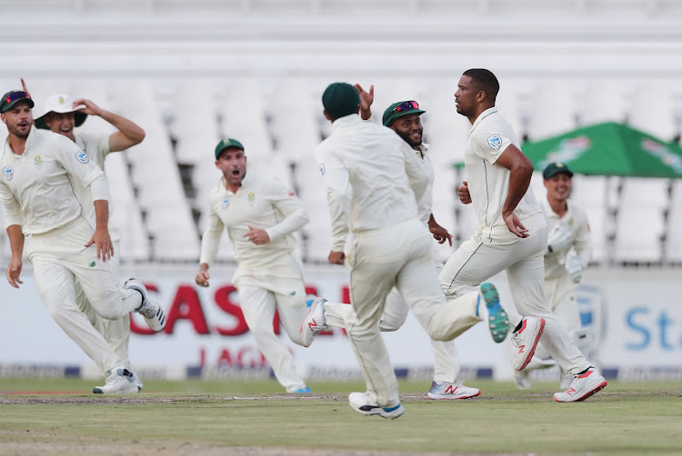 Vernon Philander of South Africa celebrates wicket of Azhar Ali of Pakistan during Day 1 of the Castle Lager Test Series cricket match between South Africa and Pakistan at the Wanderers, Johannesburg on 11 January 2019.
