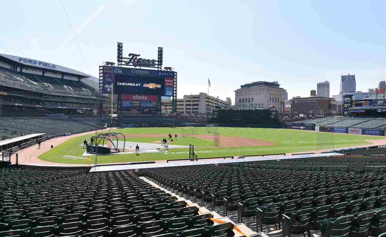 Empty Comerica Park baseball stadium during Detroit Tigers practice.