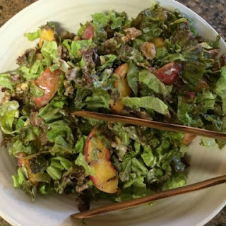 Peach Salad with Goat Cheese Honey Dressing.