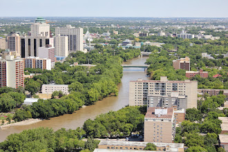 Photo: A view down the Assiniboine looking east