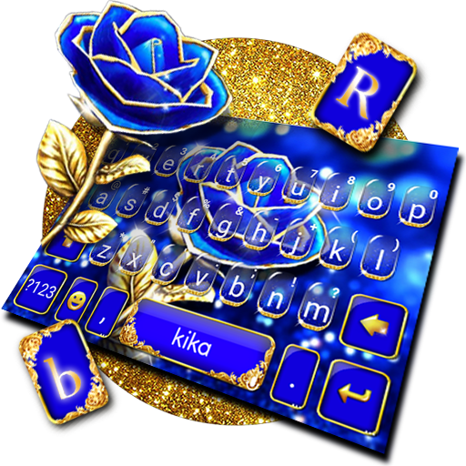 Gold Blue Rose Crystal Keyboard Theme Icon