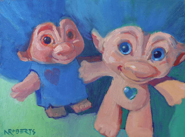 """Photo: """"Trolls Selfie"""", oil on wood, 6"""" x 8"""", by Nancy Roberts, copyright 2016. Private collection."""