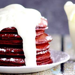 Red Velvet Pancakes with Cream Cheese Glaze