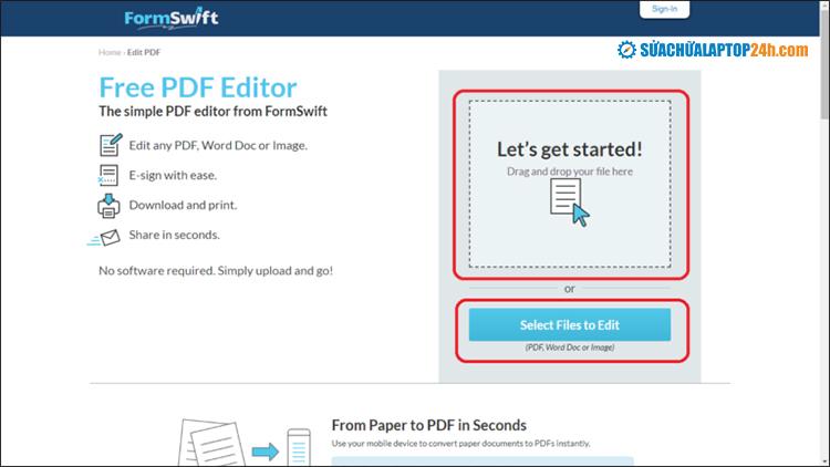 Chọn Files to Edit để lựa chọn file cần chỉnh sửa