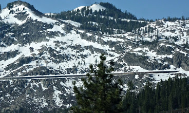 Photo: Over the summint on Hwy 80, the dark line is the snow shed that protects the trains going over the Sierras.