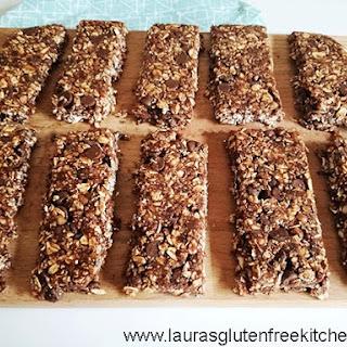 Gluten Free Chocolate and Hazelnut Granola Bars.