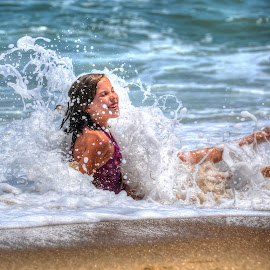 Enjoying the beach by Jim Zabroski - People Family ( obx, beach, vacation, wave )