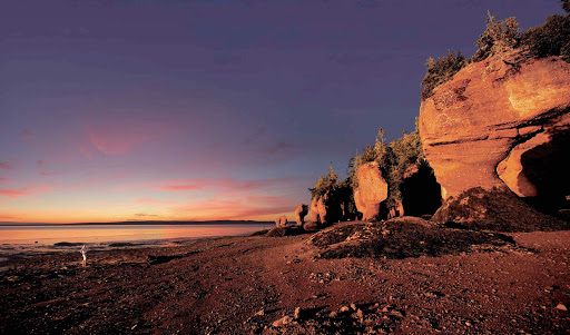 Trippy-looking rock formations along the coastline of New Brunswick, Canada.