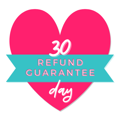 Pink heart with a blue banner over it and text that reads 30 day refund guarantee