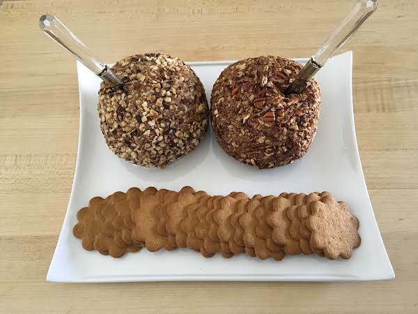 Full Chocolate Cheeseball Recipe, Divided In Half. Served With Cookies.