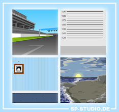 """Photo: I finished four new background drawings today, based on the wishes from my visitors. The blue wall is a simple one which will be useful for your family portraits. The shore was inspired by the """"Faith+1"""" cover from South Park. A race track was added for the car fans. And finally you can create SP-Studio mug shots with the new police station wall."""