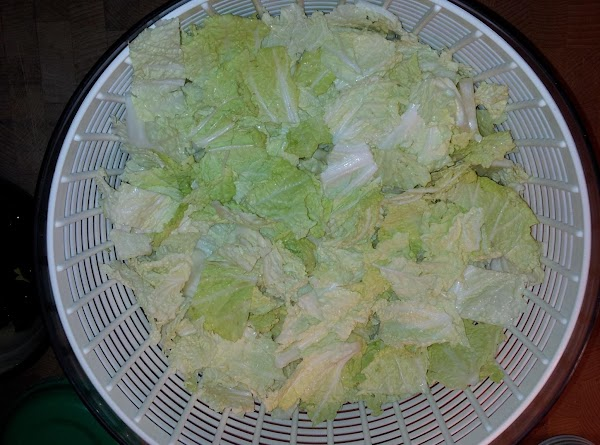 cut cabbage crossways to 1 inch widths place in colander to wash and drain well