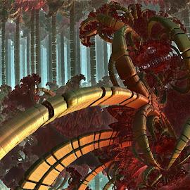 A Different Kind Of Jungle by Rick Eskridge - Illustration Sci Fi & Fantasy ( fantasy, jungle, mb3d, fractal, twisted brush )