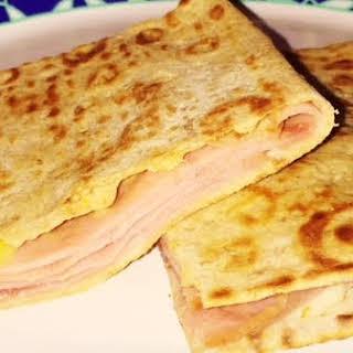 Ham and Cheese Melt on Lavash.