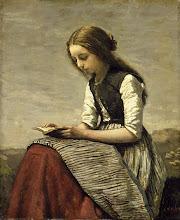 """Photo: Jean-Baptiste Camille Corot, """"Donna che legge in un campo"""" (1869)"""