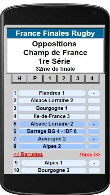 France Finales Rugby app- screenshot