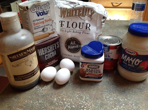These are most of the ingredients for the cake.