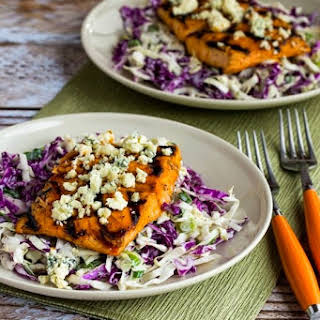 Buffalo-Glazed Grilled Salmon with Blue Cheese Coleslaw.