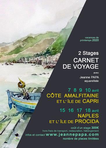 stage carnet de voyage NAPLES COTE AMALFITAINE avril 2020 seine et marne 77 fontainebleau