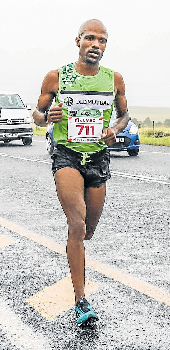 Luthando Hejana of Old Mutual on his way to winning the Buffs Marathon at the weekend.