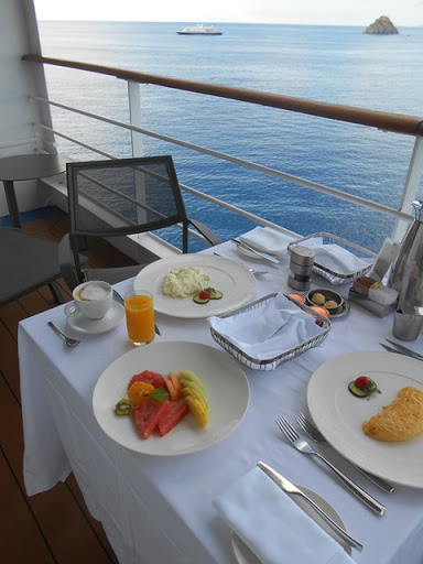 What a way to greet St. Barth's with breakfast on a balcony while sailing into this chic, French West Indies port