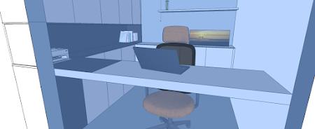 Visualisatie voorontwerp bureau ruimte 'basic'