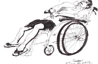 Photo: 等著等著就睡著了(一)2012.06.04鋼筆 今天醫師看很慢,輪椅上的老兄等著等著就睡著了…