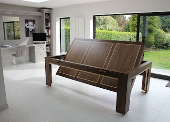Dark wood rotating kitchen pool table