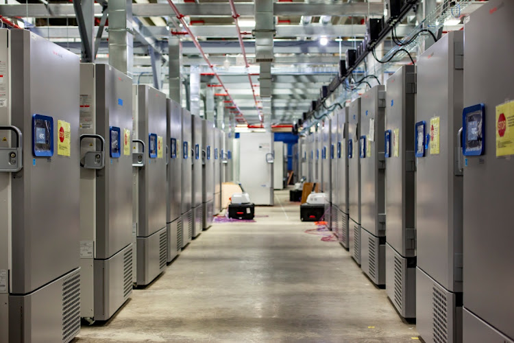 Freezers that can be used to store the coronavirus disease (Covid-19) vaccine are seen at the Pfizer manufacturing facility in Kalamazoo, Michigan, US. File photo