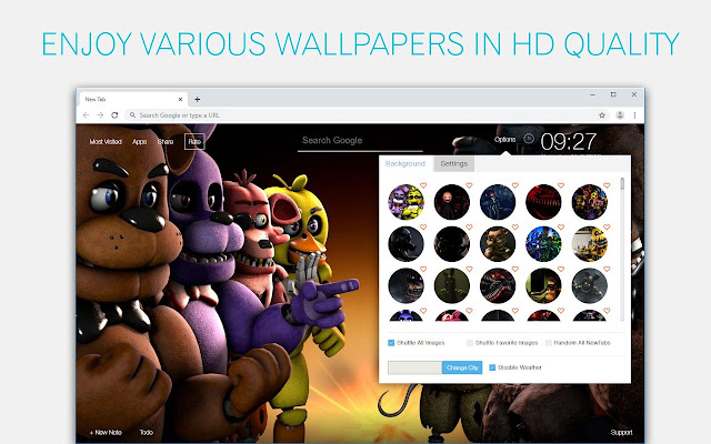 FNaF - Five Nights at Freddy's HD Wallpapers New Tab Theme